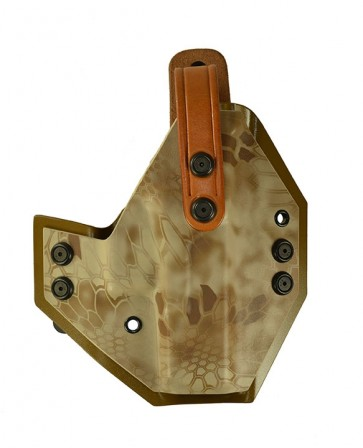 War Hammer Extreme for a Glock 19,23,32, r/h, Kydex, Nomad/Coyote Brown, Straight Drop, Natural Cowhide Thumb Break