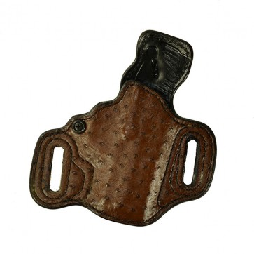 """Exotic Slide Guard for a H&K Compact 3.58"""", r/h, Brown Ostrich Quill Front, Black Smooth Ostrich Back, Leather Lined"""