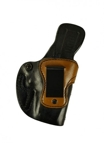 Exotic Down Under for a Glock 19,23,32, r/h, Black Horsehide Smooth Side Out, Light Brown Kangaroo Top, Clip