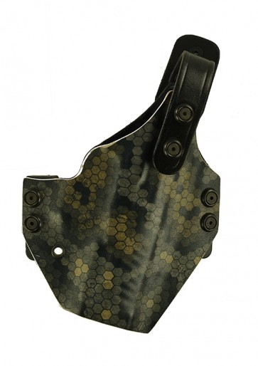 Iron Horse for a Walther PPQ, r/h, Spectra Kydex Front, Carbon Fiber Kydex Back, Black Leather Lining
