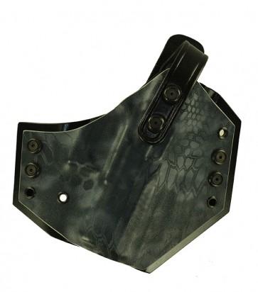 "War Hammer for a CZ P07 Duty 3.8"", r/h, Typhon Kryptek with black Kydex rear panel - leather thumb break"