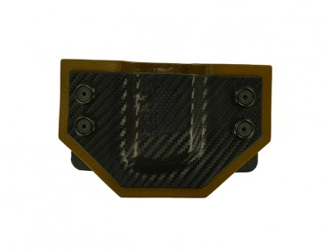 OWB Extreme Magazine Carrier for a Glock 19,23, l/h draw, Kydex, Carbon Fiber Front/Coyote Brown Back, Straight Drop