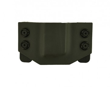 OWB Medium Magazine Carrier for a Glock 43, l/h draw, Kydex, Gray, Straight Drop
