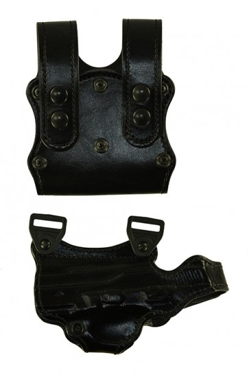 Under Taker for a FNH FNX 4.5, l/h, Cowhide, Black, Holster Side is Unlined - Magazine Side is Lined