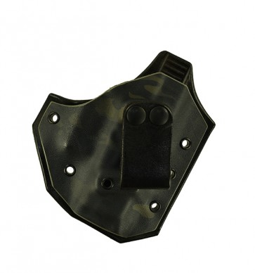 Close Encounter for a Glock 26,27,33, r/h, Hybrid, Multicam:Woodland w/ Black Leather Lined Front, Black Leather Back, Canted, Strap