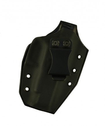 Close Encounter for a Glock 48, r/h, Hybrid, Black Kydex Front, Black Leather Back, Canted, Clip