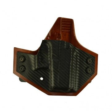 Integrator for a Glock 26,27, r/h, Kydex Carbon Fiber Front, Tan Cowhide Back, Straight Drop