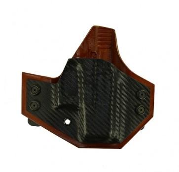 Integrator for a Glock 26,27,33, r/h, Hybrid, Carbon Fiber Front, Tan Leather Back, Straight Drop