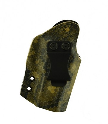 "Direct Hit for a Sig 229 3.9"" w/ Trijicon RMR Sight Type 1&2, r/h, Wasteland Kydex, Black Leather Lined, Canted, Clip"