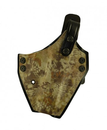 """War Hammer Extreme for a S&W M&P 4.5"""", r/h, Kydex, Highlander/Black, Canted, Black Cowhide Thumb Break"""