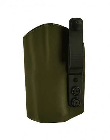 "Instinct Lite for a Sig 320 C 3.9"", l/h, OD Green Kydex, Straight Drop, Webbing Belt Strap"