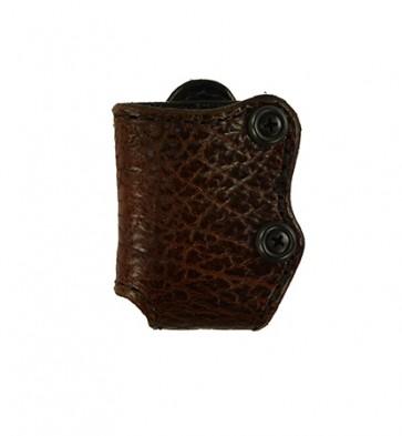 Bison Hide Tie Breaker Magazine Carrier, Single Column 380,9,40,45, Brown - Scar on Hide - See Pictures
