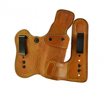"""Double Jeopardy for a 1911 4"""", 4.25"""", r/h, Cowhide, Natural, Clip"""
