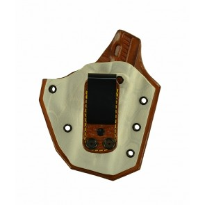"""Turning Point for a Sig 229R 3.9"""", r/h, Hybrid, Yeti Kydex Front, Tan Leather Back, Canted, Tuckable, Shark Embossed Strap"""