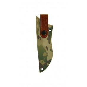 Overlap Extreme Duty Knife Sheath for a SOG SEAL Pup Elite, r/h, Multicam Woodland Kydex, Natural Python Embossed Strap