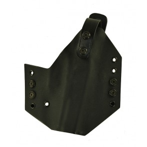 Iron Horse for a Glock 20SF w/ Glock rail, r/h, black Kydex with black leather lining