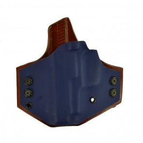 "Integrator for a Sig 229 3.9"", l/h, Hybrid, Navy Kydex Front/Tan Leather Back, Straight Drop"