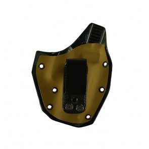 Turning Point for a Glock 19 Gen 5, r/h, Hybrid, Coyote Brown Kydex Front/Black Leather Back, Canted, Tuckable