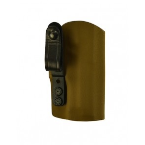 """Instinct Extreme for a S&W M&P Shield 3.1""""Sig 229 w/ Rail, r/h, Kydex, Coyote Brown, Straight Drop, Cowhide Strap"""