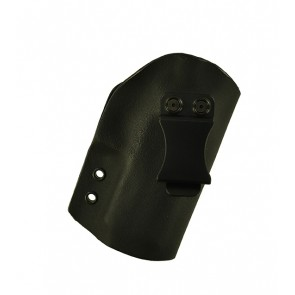 "Direct Hit for a Sig 320C 3.9"", r/h, Hybrid, Black Kydex, Black Leather Lining, Clip, Canted"