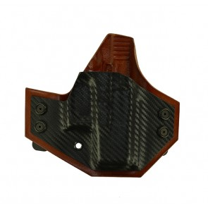 Integrator for a Glock 26,27,33, r/h, Hybrid, Carbon Fiber Front, Tan Leather Back, Straight Drop