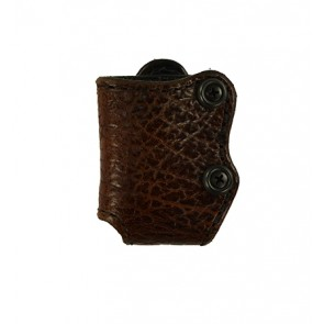 Bison Hide Tie Breaker Magazine Carrier, Single Column 380,9,40,45, Brown - Scar on Hide - See Pictures