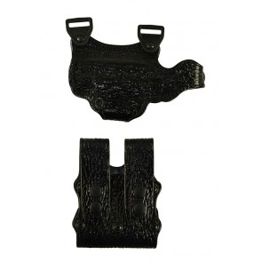 Under Taker for a Glock 19,23,32, l/h, Cowhide, Black, Unlined, Shark Embossed