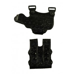 Under Taker for a Walther PPS, r/h, Cowhide, Black, Lined Holster Side Only, Ostrich Embossed