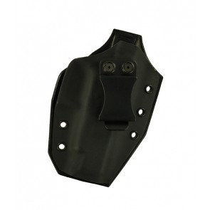 Close Encounter for a Glock 48, r/h, Hybrid, Black Kydex, Black Leather Back, Canted, Clip