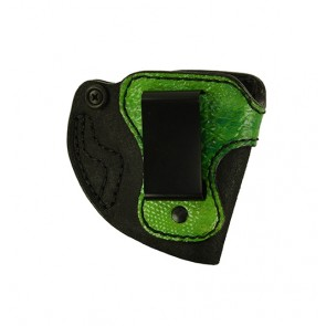 """Bare Necessity for a S&W M&P Shield 3.1"""", r/h, Cowhide, Black, Clip, Python Embossed Trim in Iguana Green"""